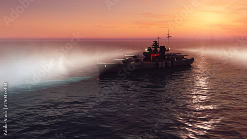 Photo 3d illustration of a battleship in the open ocean at sunset with the searchlight
