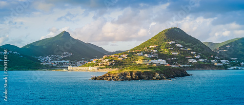 Foto auf AluDibond Blau Jeans Panoramic landscape view of Philipsburg, Sint Maarten, Caribbean