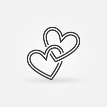 Two Crossed Hearts Vector Line...