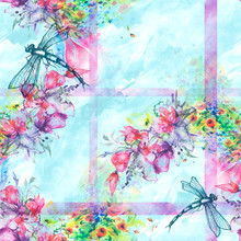 Seamless Watercolor Background With Perfume Bottle, Flowers, Paint Splash.Watercolor Card With A Picture Of Dragonfly,flower Branch,sheet,floral Pattern.Flower Fragrance.Trendy Blue Vintage Background