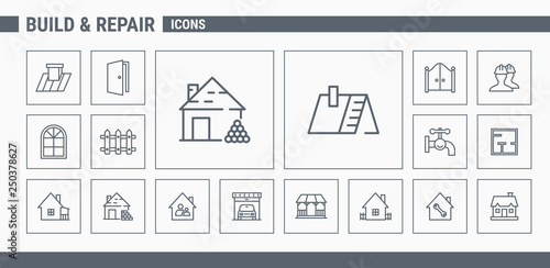 Fotografía Construction icons set - Vector Outline web badges on the topic of repair