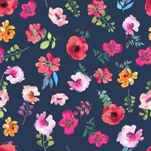 Watercolor Floral Seamless Pattern For Wallpaper, Prints Design. Flower Background. Spring Textile Texture. Ornament Illustration.