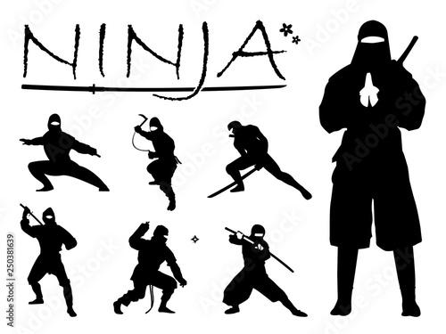 Fotomural Set of Ninja Silhouette vector illustration, Ninja Weapon silhouette