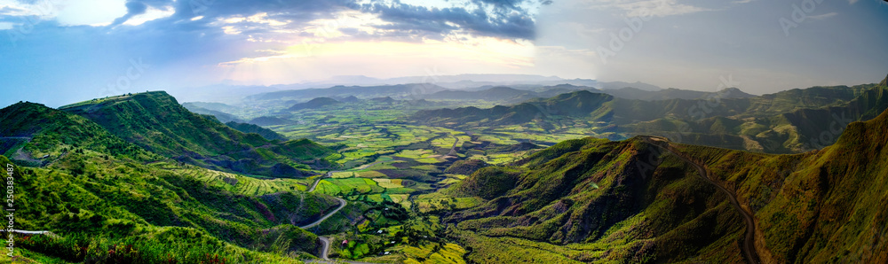 Fototapety, obrazy: Aerial Panorama of Semien mountains and valley around Lalibela, Ethiopia