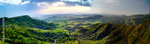 Photo  Aerial Panorama of Semien mountains and valley around Lalibela, Ethiopia