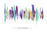 Colorful hand drawn decorative element from brush strocks. Abstract creative design from green, violet, purple and golden paint lines.