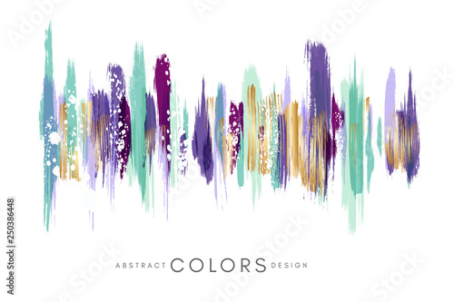 Acrylic Prints Form Colorful hand drawn decorative element from brush strocks. Abstract creative design from green, violet, purple and golden paint lines.