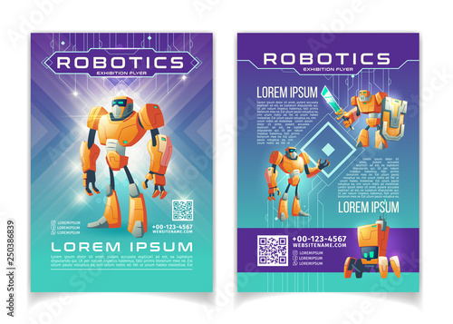 Photo Robotics and artificial intelligence technologies exhibition advertising flyer cartoon vector pages template