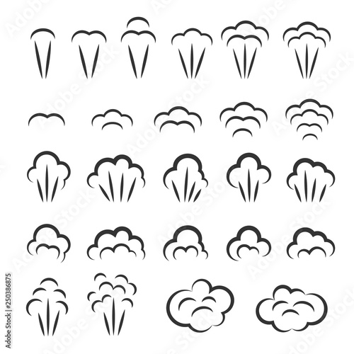Photo  Steam icons set. Vector symbols collection.