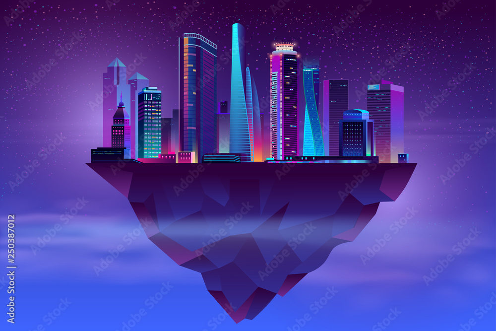 Fototapeta Vector modern megapolis on soaring island. Bright glowing buildings at night in cartoon style. Urban skyscrapers in neon colors, town exterior, architecture background. Cityscape concept.