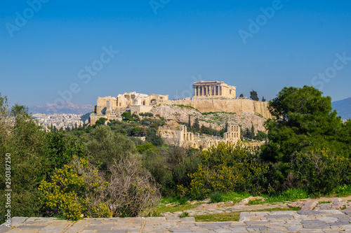 Con. Antique View of Acropolis and the temple of Parthenon in Athens, Greece