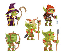 Evil Goblins Pack Dungeon Dark Wood Tribe Monster Minion Army Fantasy Medieval Action RPG Game Characters Isolated Icons Set Vector Illustration