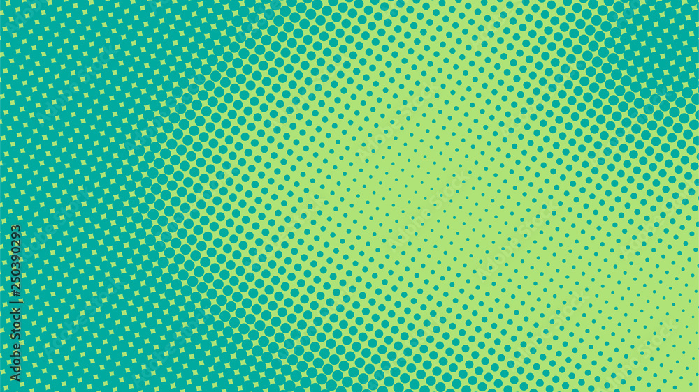 Fototapety, obrazy: Bright turquoise and green pop art retro background with halftone in comics style vector illustration eps10