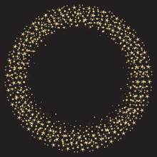 Round Frame Of Gold Stars On A Black Background