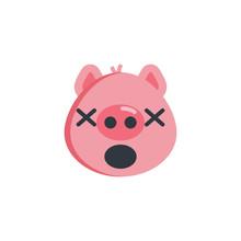Yawning Face Emoji Flat Icon, Vector Sign, Colorful Pictogram Isolated On White. Sleeping Piggy Face Emoticon Symbol, Logo Illustration. Flat Style Design