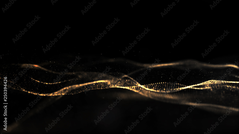 Abstract Black and Gold Color Digital Particles Wave With Bokeh Background