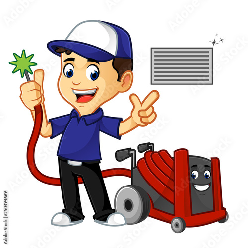 Cuadros en Lienzo Hvac Cleaner or technician cleaning air duct