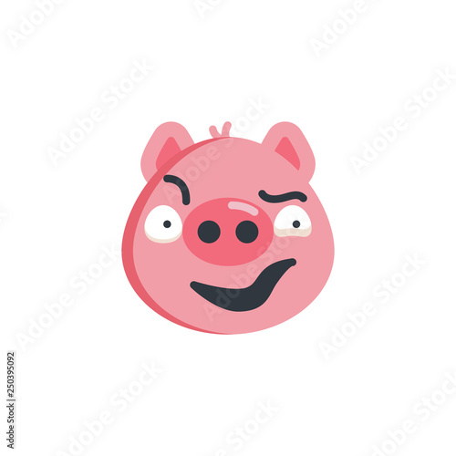 Photo  Piggy sly face emoticon flat icon, vector sign, colorful pictogram isolated on white