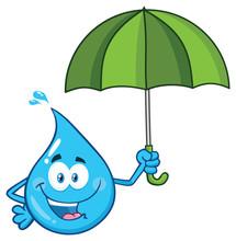 Blue Water Drop Cartoon Charac...