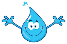Cute Blue Water Drop Cartoon Character With Open Arms. Vector Illustration Isolated On Transparent Background