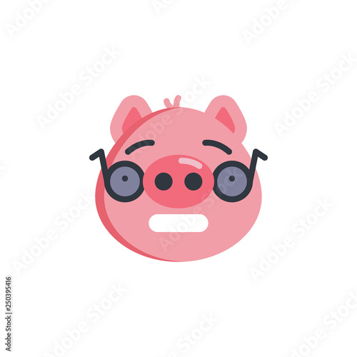 Piggy nerd face emoticon flat icon, vector sign, colorful pictogram isolated on white. Piggy face with glasses emoji symbol, logo illustration. Flat style design