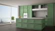Classic green kitchen in modern open space with parquet floor and big panoramic window with balcony on sea landscape, island and accessories, minimalist contemporary interior design