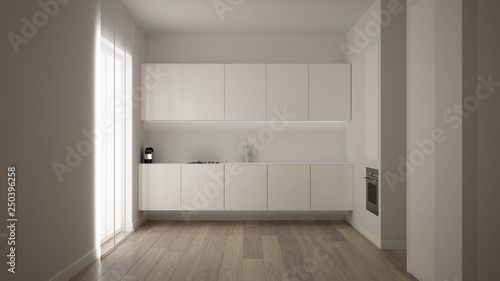 Minimalist White Small Kitchen Design In One Bedroom Apartment With New Small Contemporary Bedrooms Concept Design