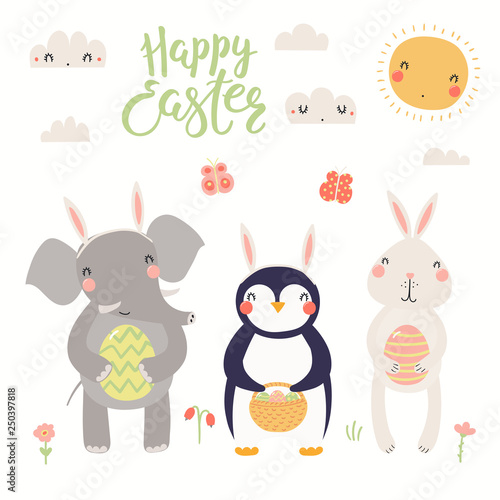 Printed kitchen splashbacks Illustrations Hand drawn vector illustration of a cute elephant, bunny, penguin, with eggs, text Happy Easter. Isolated objects on white background. Scandinavian style flat design. Concept for kids print, card.
