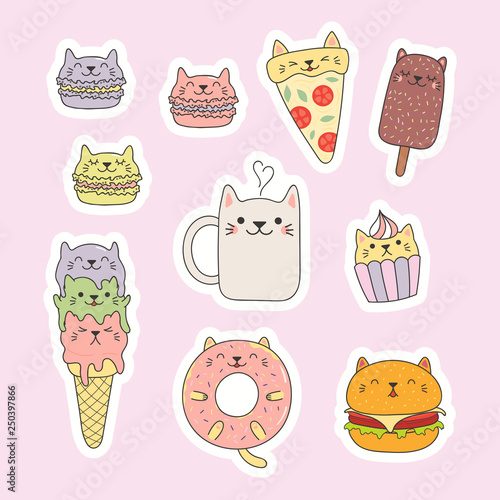 Set of kawaii stickers with foods with cat ears, macarons, pizza, burger, ice cream, cupcake, donut, coffee. Isolated objects. Hand drawn vector illustration. Line drawing. Design concept kids print.