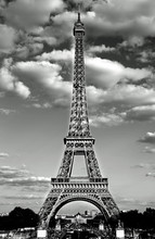 Eiffel Tower In Paris With Black And White Effect And The White