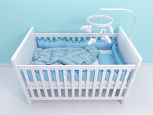 Image Of White Baby Cot With Decor
