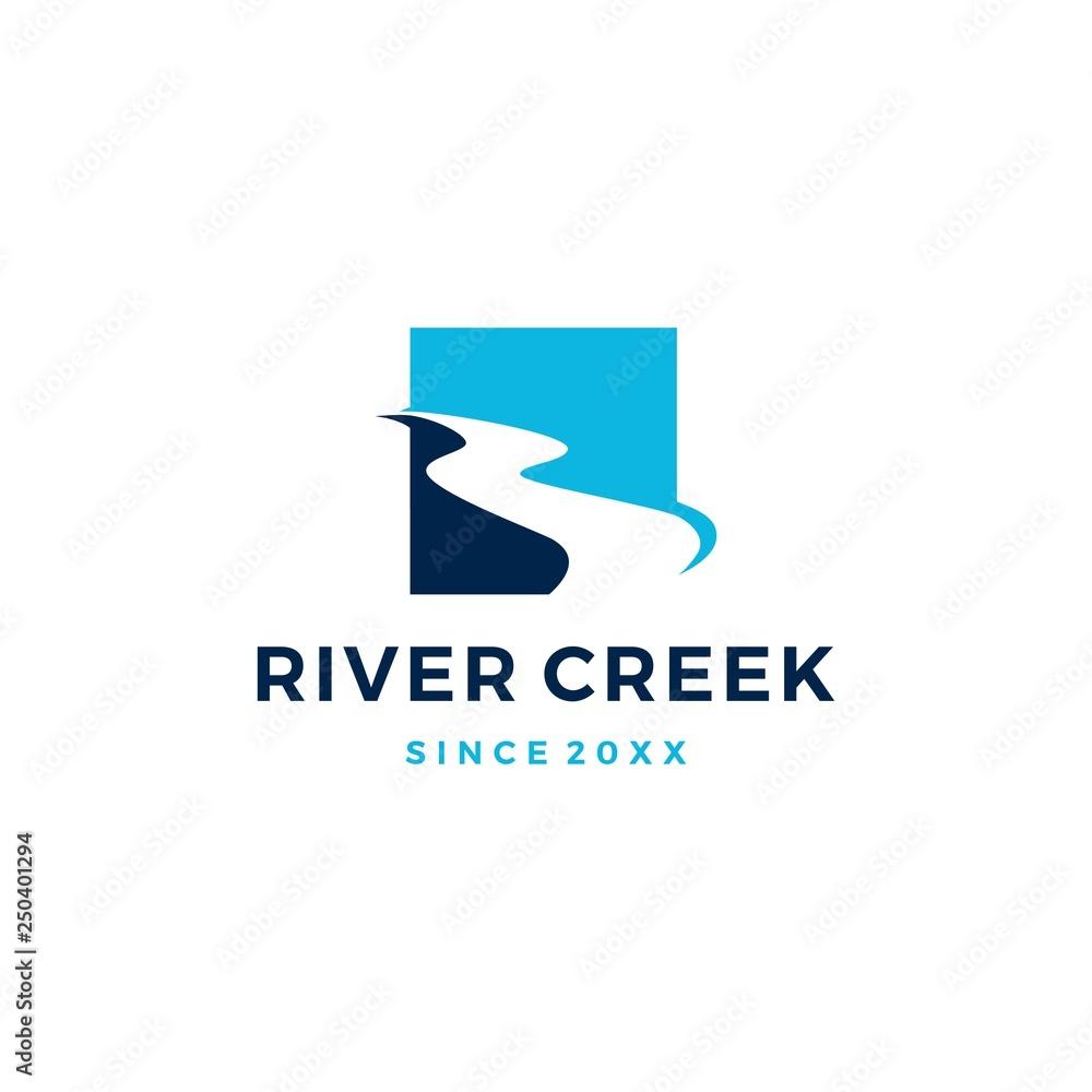Fototapeta river creek logo vector icon illustration