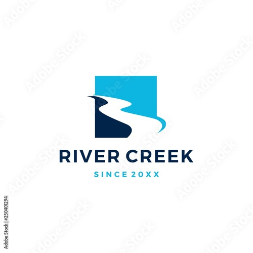 Photo river creek logo vector icon illustration