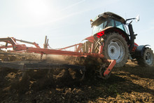 Plowing Of Stubble Field