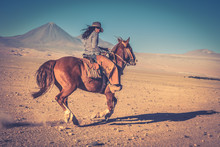 Cowgirl Woman Riding A Horse I...