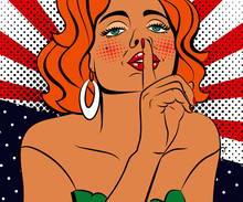 Sexy Pop Art Woman With Beautiful Eyes And Mouth. Vector Background In Comic Style Retro Pop Art.  Face Close-up.