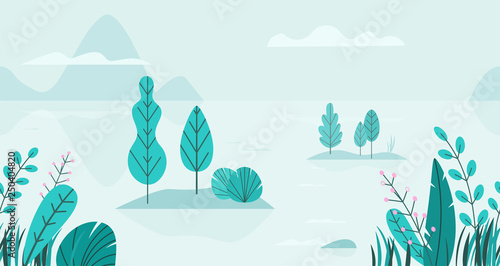 Poster Artificiel Flat vector background of spring landscape with minimal trees, lake, mountains, flowers, grass. Fantasy nature seamless border. Summer cartoon illustration