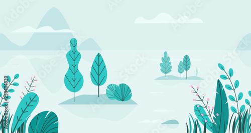 Türaufkleber Künstlich Flat vector background of spring landscape with minimal trees, lake, mountains, flowers, grass. Fantasy nature seamless border. Summer cartoon illustration