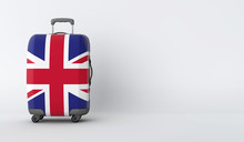 Travel Suitcase With The Flag Of UK. Holiday Destination. 3D Render