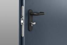 Steel Dark Blue Metallic Door ...