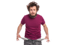 Crazy Bearded Man With Funny H...