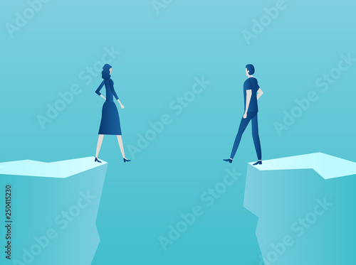 Vector of a couple man and woman standing at the edge of the abyss Wallpaper Mural