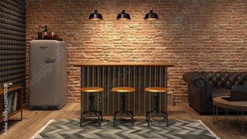 Obraz Interior of modern man living room with bar 3D rendering - fototapety do salonu