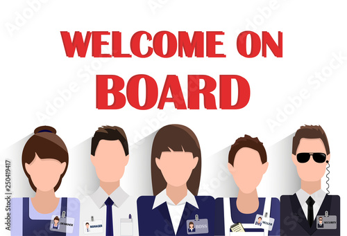 Fototapeta Flat design banner of business team for website and mobile website with free spa