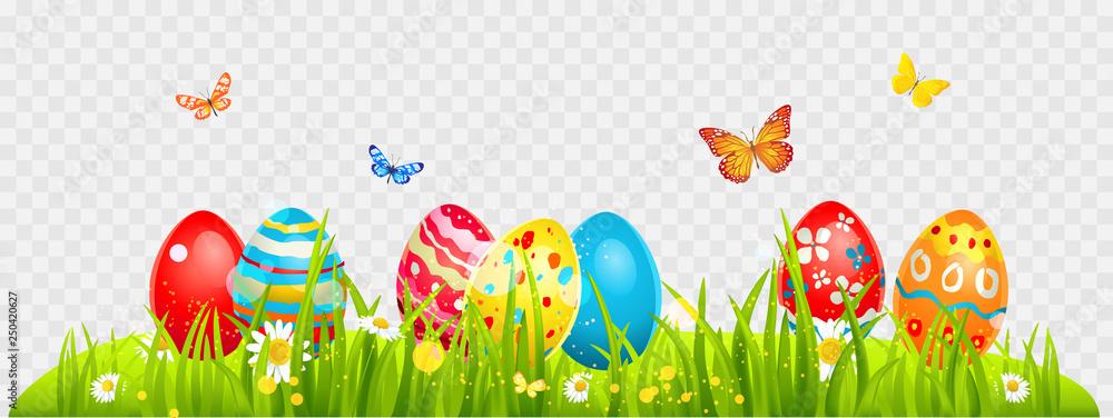Fototapety, obrazy: Easter eggs and batterflies