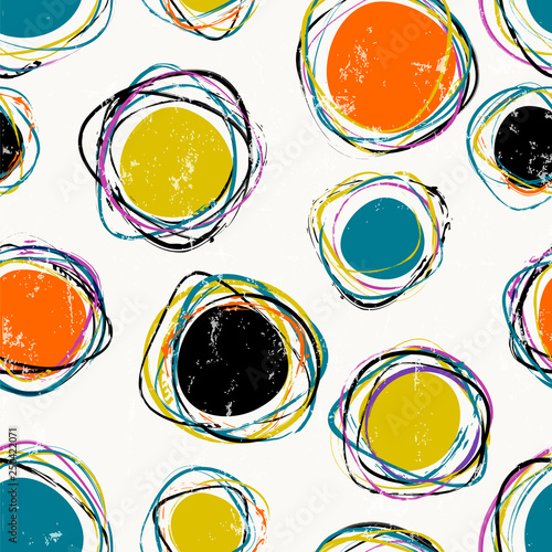 seamless abstract circle pattern, with paint strokes and splashes
