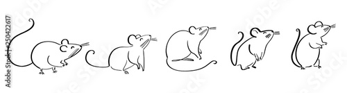 drawing of cute rat vector illustration simple concept zodiac of rat Wallpaper Mural
