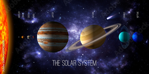 Fototapeta Sun and the eight planets of the solar system with deep space and dramatic nebula background