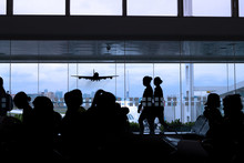 Silhouette Of Airport Lounge