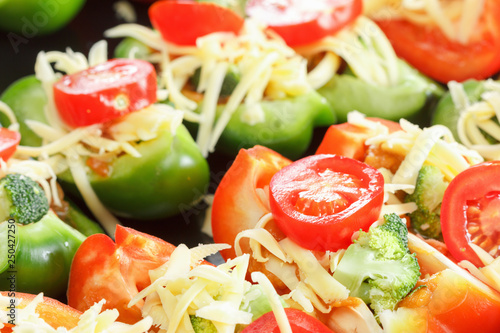 Poster de jardin Vache Raw bell pepper with cheese, herbs and vegetables